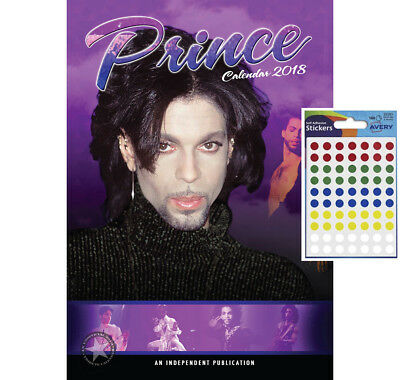 Calendar - Prince 2018 Wall Calendar - Includes 70 Coloured Dot Stickers