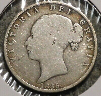 British Silver Half Crown - 1885 - Queen Victoria - $1 Unlimited Shipping