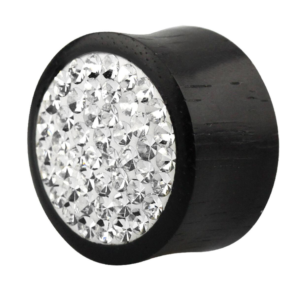 Steine mit Epoxy in 6-16mm Stärke Ohr Piercing Schmuck Holz Plug Tunnel schwarz