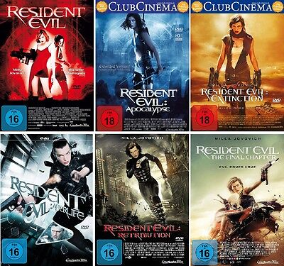 6 DVDs * RESIDENT EVIL 1 - 6 KOMPLETT SET - Milla Jovovich ~ FSK 18 # NEU OVP +