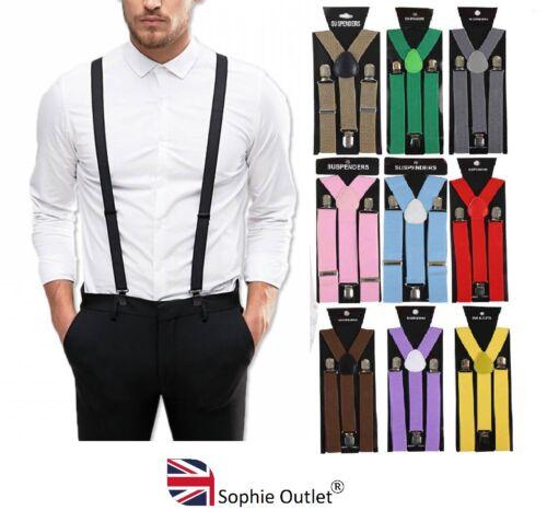 Adjustable Men Braces Suspenders Clip On Unisex Girls Mens Y Strap Fancy Dress