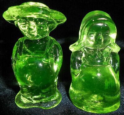 set Green Vaseline uranium glass Amish couple Eli Boy doll farm glows lot / girl