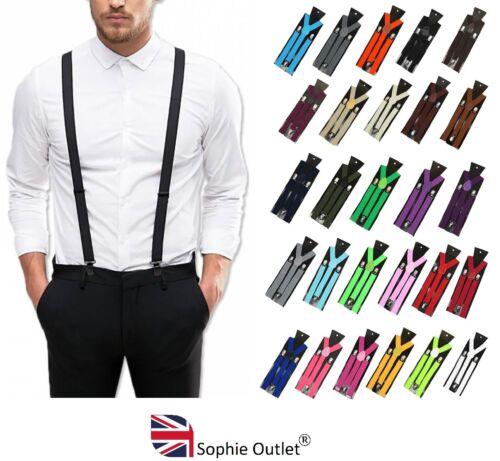 Adjustable Men Braces Suspenders Clip On Slim Unisex Y Strap Mens Fancy Dress Uk