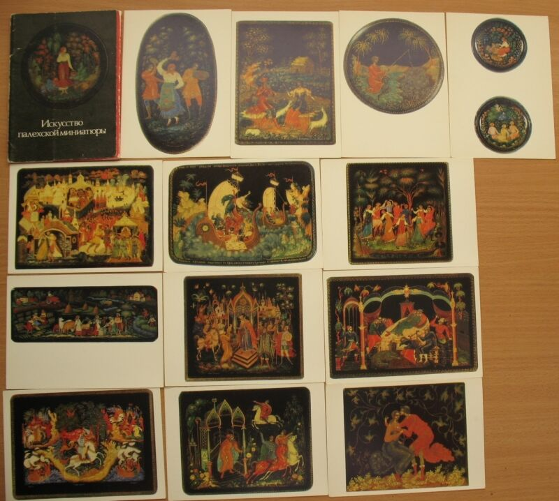 14 Russian Art Oil Reproduction Lacquer PC Card set Post Palekh Miniature Artist