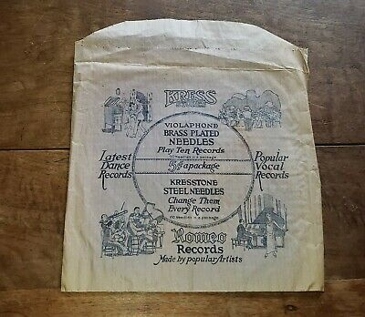 1920s Handbags, Purses, and Shopping Bag Styles 1920s Vintage Retail Record Store Paper Bag/Sack ROMEO RECORDS Kress Stores $40.00 AT vintagedancer.com