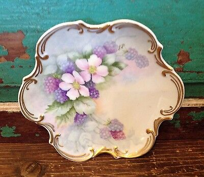 Vintage Hand Painted Porcelain Candy Decorative Plate, Flowers, Gold Scalloped