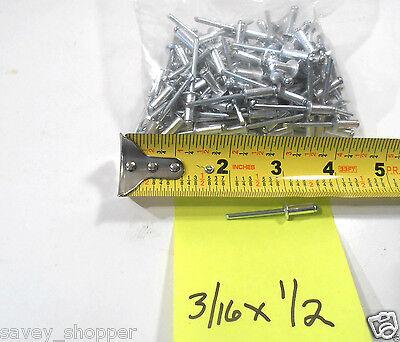 100 Pc. 316 X 12 Aluminum Head Steel Mandrel Pop Rivet