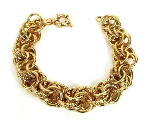 """Vintage SLC Signed Chunky Link Bracelet Textured and Polished Gold Tone 8"""""""