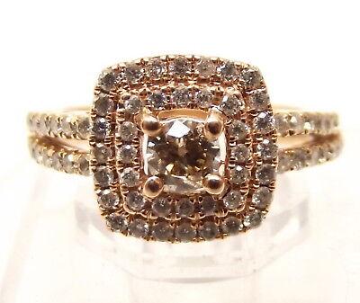 - 14K Rose Gold Diamond Cluster Ring Sz 5.75 Champagne Cognac .97tcw Carat