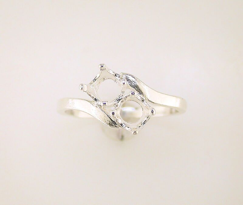 Two Stone Round Bypass Ring Setting Sterling Silver