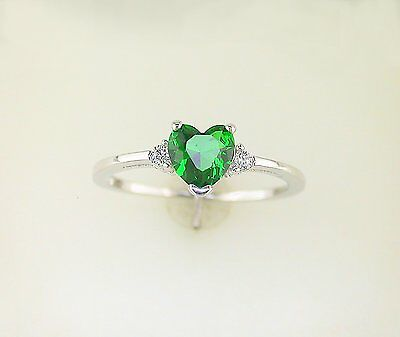 Heart Shape Accented Emerald Green Cubic Zirconia Ring Sterling -