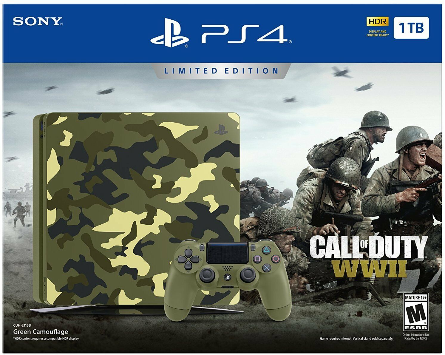 Playstation 4 - PlayStation 4 Slim 1TB Limited Edition Console - Call of Duty WWII Bundle NEW