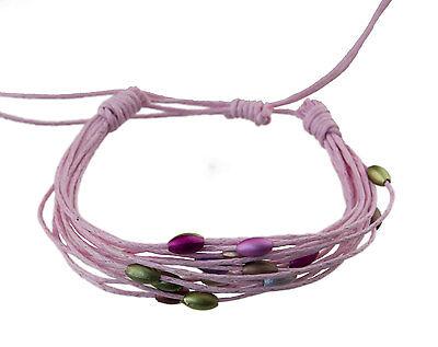 Bracelet multi fils rose perles pastel tous poignets-Line bresilien Wrap 933 (Tous Armband Perle)