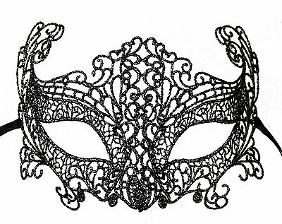 Mask from Venice Lace of Burano-Loupcivette Carnival-Black Silver 45