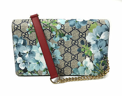 AUTH NEW GUCCI SUPREME GG BLOOMS/BLOSSOM MINI CHAIN WALLET ON CHAIN BAG/CLUTCH