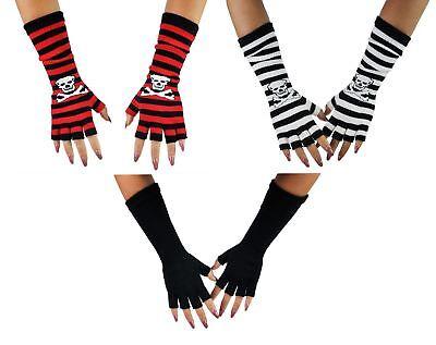 Women's Winter Warm Knit Finger less Stripe Skull Halloween Fancy Costume Gloves (Halloween Costume Less)