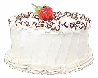 Vanilla Frosted Cake with Chocolate And Strawberry Replica Prop by Just Dough It