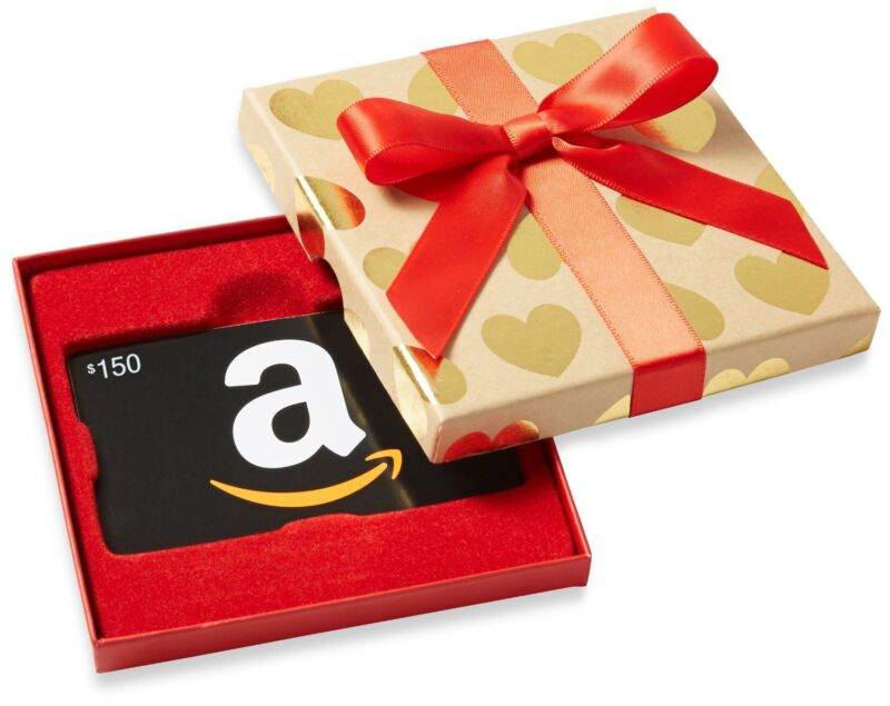 $150 Amazon Gift Card + Nice Gift Box, Never Expires! Ultra-Fast 1-Day Delivery.