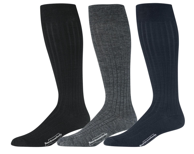 Men's Knee High Dress Socks Merino Wool Over the Knee Over t