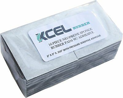 XCEL Foam Rubber Padding 16-Piece Anti-Vibration Closed-Cell Pads w/ Adhesive, 3