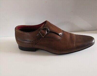 Mens Brown Monk Single Strap Leather Burton Shoe - UK Size 9