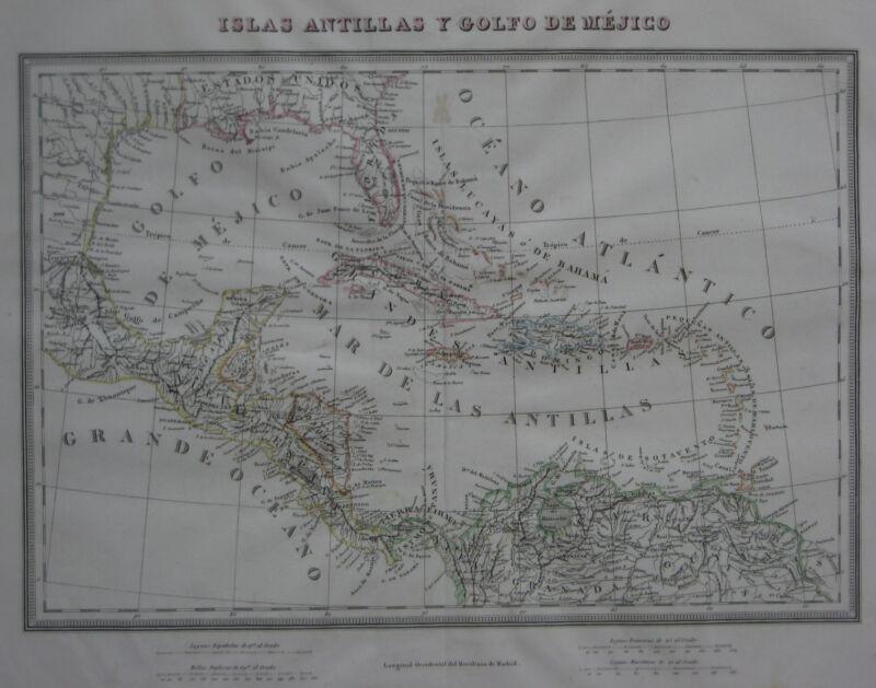 Original 1835 Spanish Map FLORIDA WEST INDIES Cuba Puerto Rico Panama Venezuela
