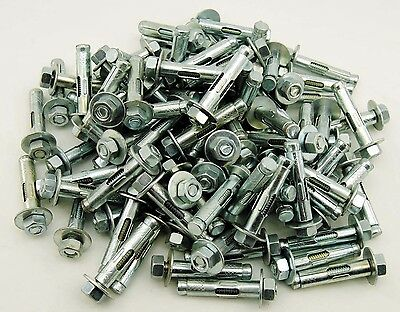 "(50) Concrete Sleeve Anchors 3/8 x 1-7/8"" Hex Head Nut & Washer"
