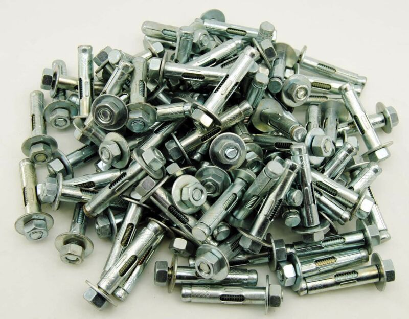 """(75) Concrete Sleeve Anchors 3/8 x 1-7/8"""" Hex Head Nut & Washer"""