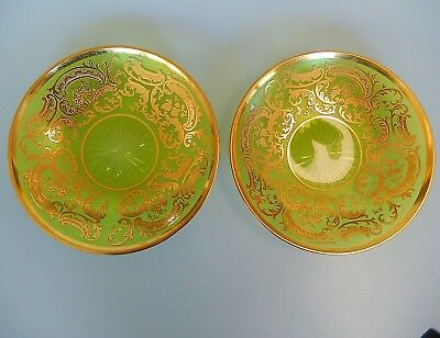 Green Crystal Glass Etched Appetizer Plates Set of 2 Gold (Crystal Glass Plates)