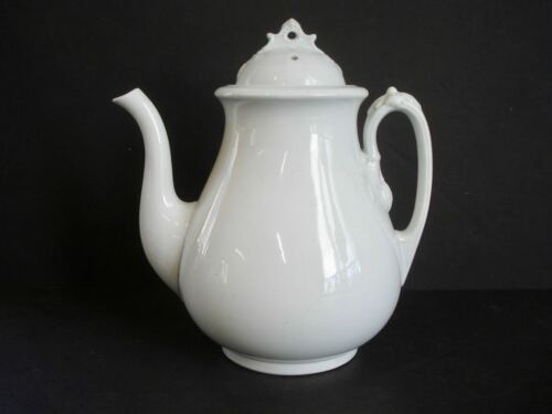 Antique White Ironstone Coffee Pot ~ Wedgwood & Co. Royal Stone China