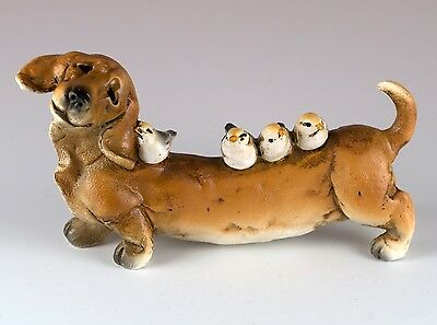 """Dachshund With Birds Dog Figurine 4.25"""" Long Resin New In Box!"""