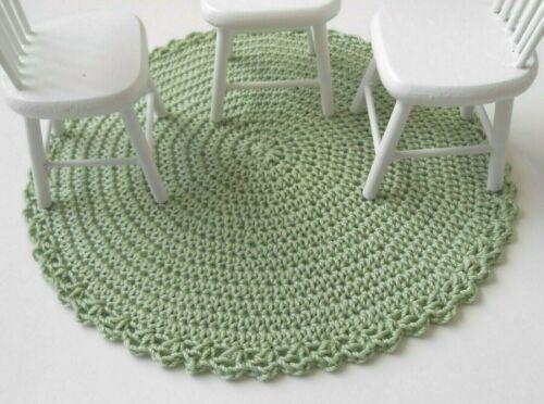 "Dollhouse Miniature Hand Crochet Large 5.5"" Rug ~ Sage Green"
