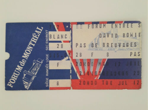 DAVID BOWIE 1983 Serious Moonlight Tour Concert Ticket Stub Montreal Heroes