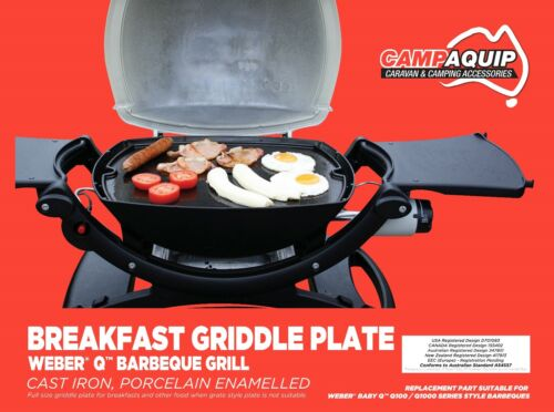 Griddle Plate, Full Size Cast Iron for Weber Style Q100 Q120 Q1000 Q1200
