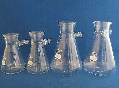 Lot Of 4 Pyrex Filter Flasks 2- 125ml 2- 50ml 5360