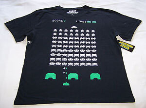 Space Invaders Video Game Mens Black Printed T Shirt Size XL New