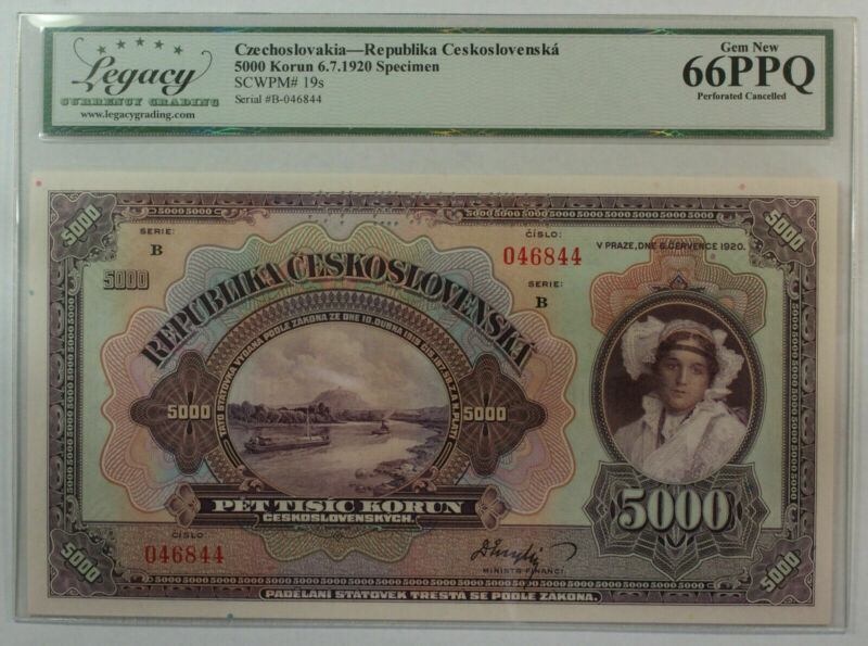 1920 5000 Korun Specimen Czechoslovakia Republic Currency Note Legacy 66 PPQ