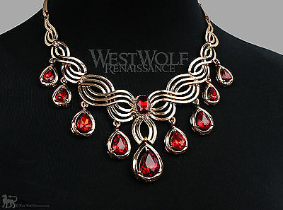 (Gold & Ruby Jewelry Collection/Set/Lot - Necklace/Ring/Earrings/Bracelet Vampire)