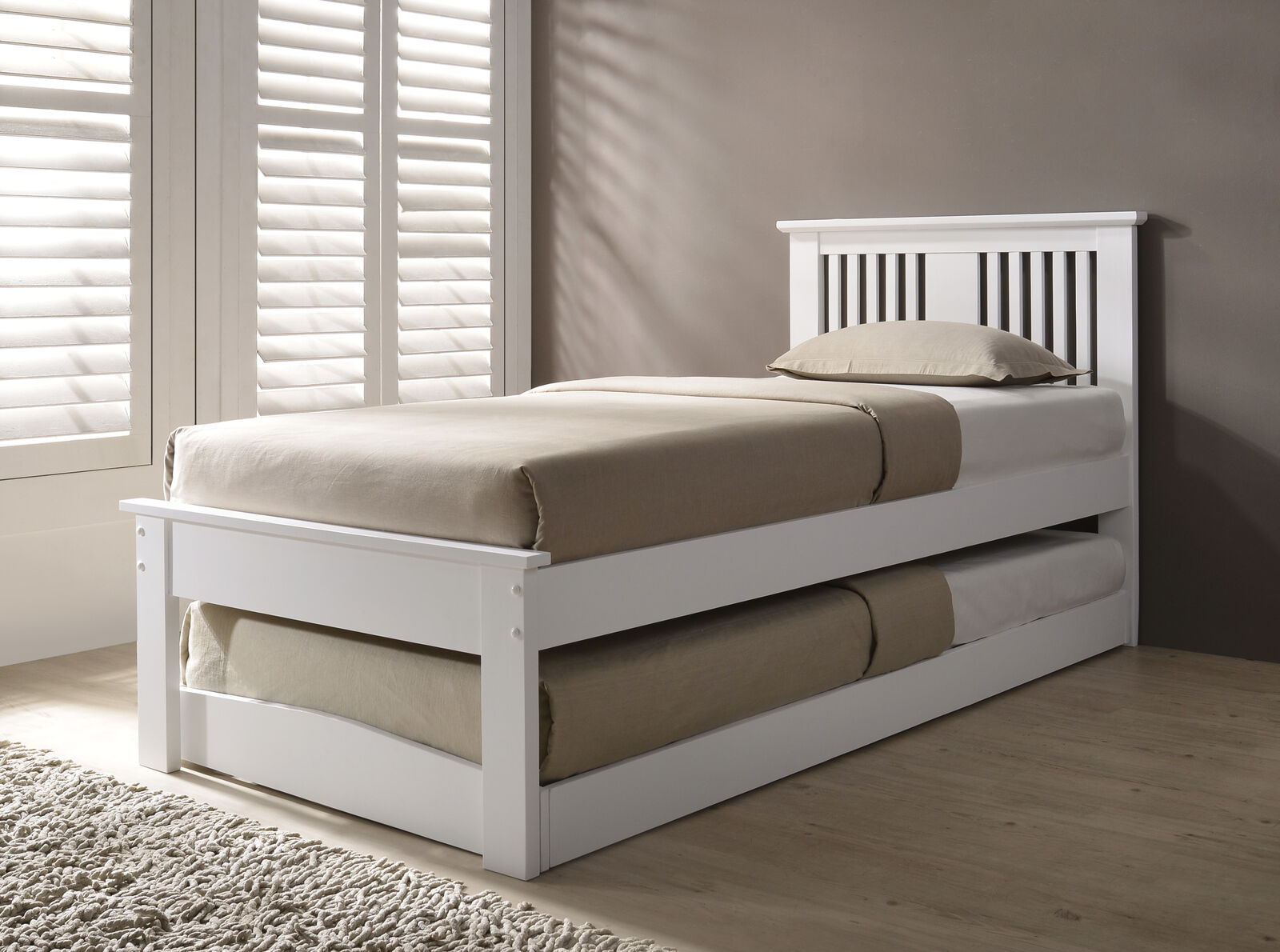 timeless design 92c41 1bc59 Details about Halkyn Solid Wood Single Bed With Pull Out Trundle Guest Bed  Various Colours