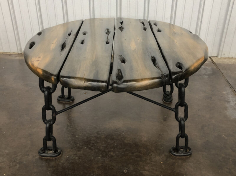 Shipwreck Furniture Wood Table Chain Recovered From Great Lakes Maritime Salvage