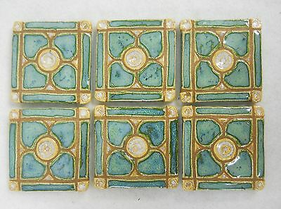 DOGWOOD MOSAIC TILE Handmade Ceramic Grouted Decorative Mint Green  Set of 6