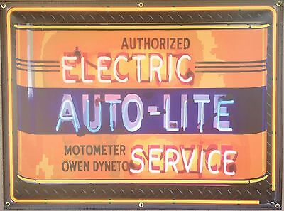 AUTO-LITE ELECTRIC AUTH SERVICE GAS STATION NEON STYLE BANNER SIGN ART 4' X 3'
