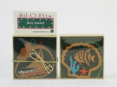 SIL-O-ETTES Handcrafted Wood CHIRISTMAS ORNAMENTS Fish Boat Sea J ALBERG NC