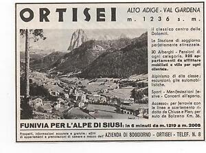 Pubblicita-1940-ORTISEI-ALTO-ADIGE-VAL-GARDENA-advert-werbung-publicite-reklame