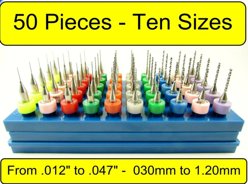 "50 Piece / 10 Size Micro Solid Carbide Drill Bit Set 1/8"" Shank .012-.047"" AAAlu"