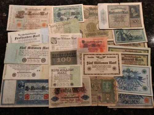 Mixed Lot of 23 German Banknotes 1918 -1924 Lot L2