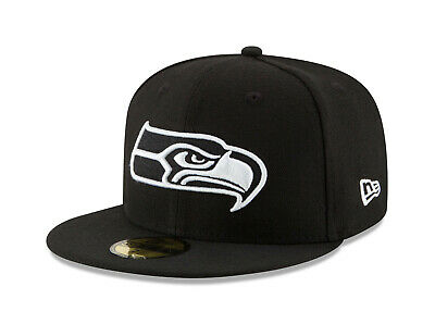 New Era 59Fifty Cap Mens NFL Seattle Seahawks Black White Logo Fitted 5950 Hat 59fifty White Hat