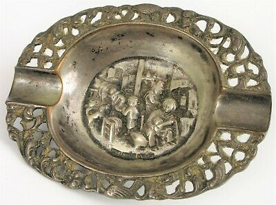ANTIQUE 813H FINNISH SILVER SIGNED AMK KOIVULA OY REPOUSSE COIN DISH TRINKET