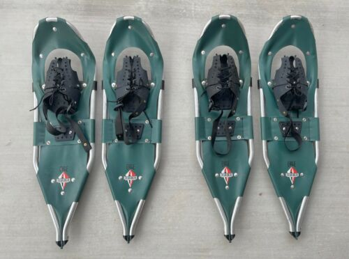 """2 Pair Redfeather Eagle 30"""" Aluminum Frame Hiking Snowshoes Green FREE SHIPPING"""