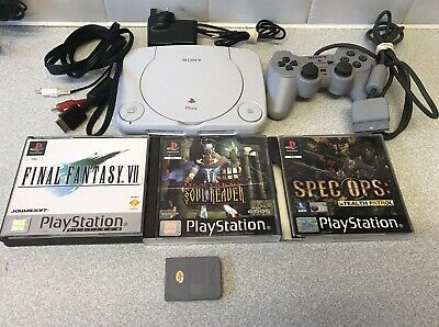 SONY PLAYSTATION 1  PS1 PSONE SLIM CONSOLE WITH GAMES TESTED